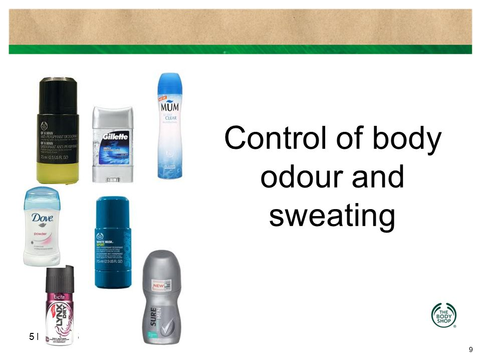 Control of body odour and sweating