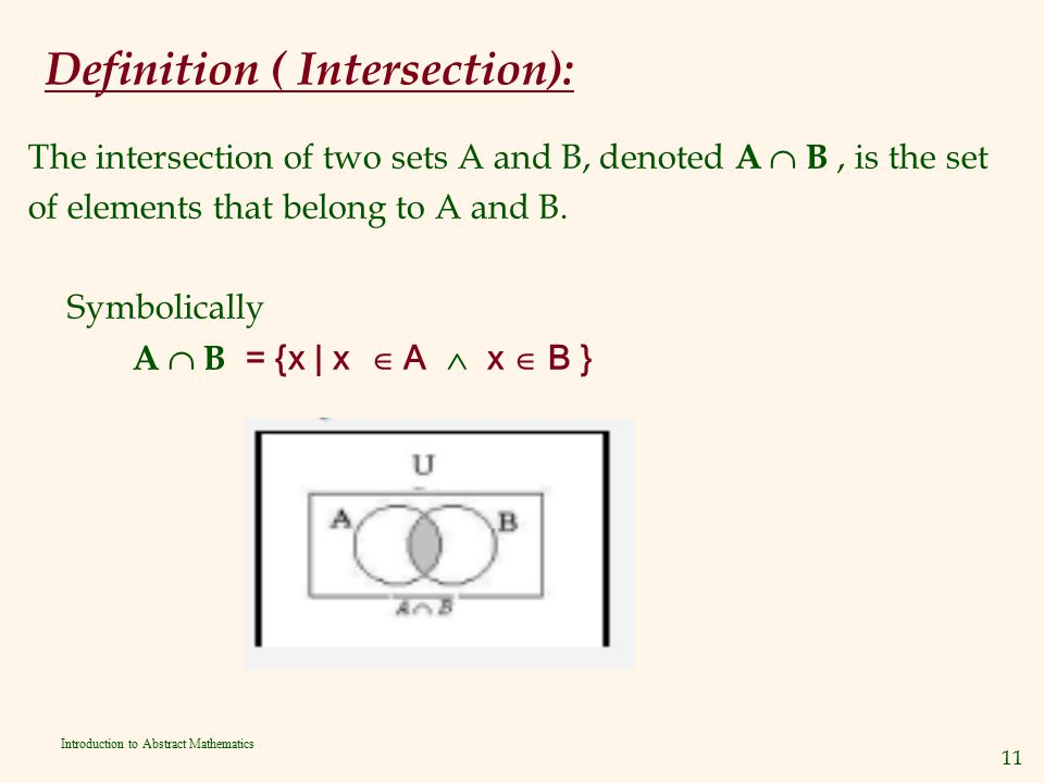 Definition ( Intersection):