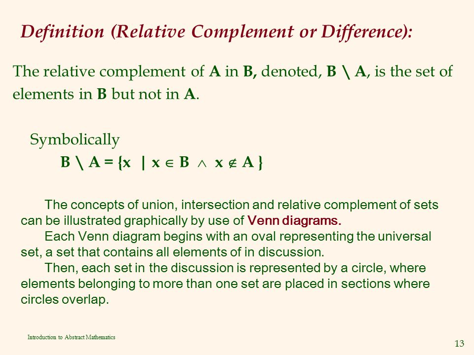 Definition (Relative Complement or Difference):