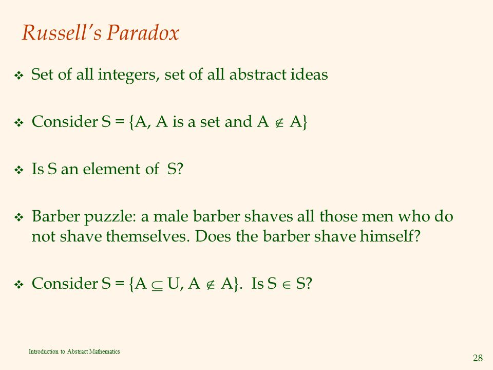 Russell's Paradox Set of all integers, set of all abstract ideas