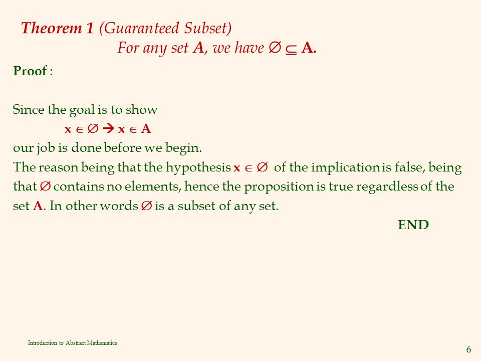Theorem 1 (Guaranteed Subset) For any set A, we have   A.