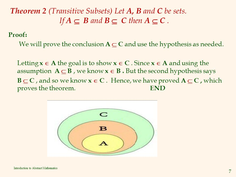Theorem 2 (Transitive Subsets) Let A, B and C be sets