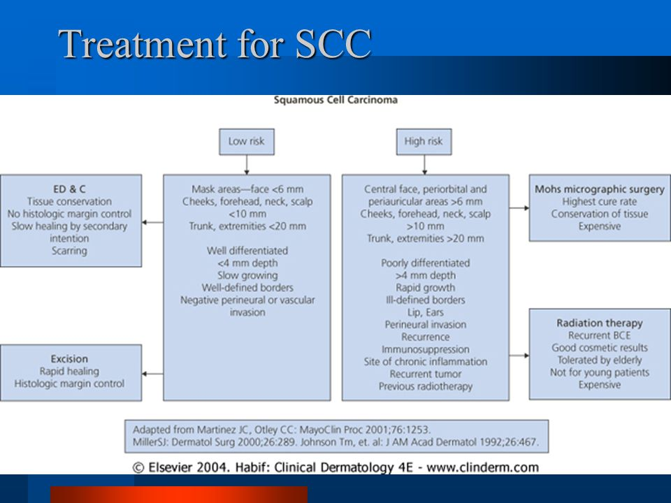 Treatment for SCC Radiation and chemotherapy in addition to surgery for large lesions.
