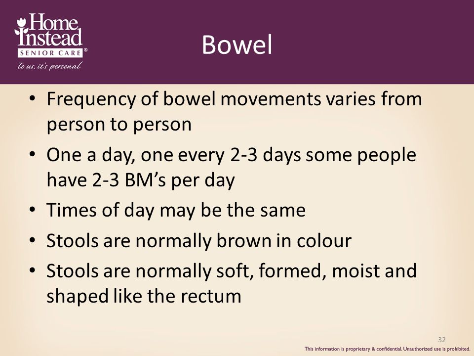 Bowel Frequency of bowel movements varies from person to person