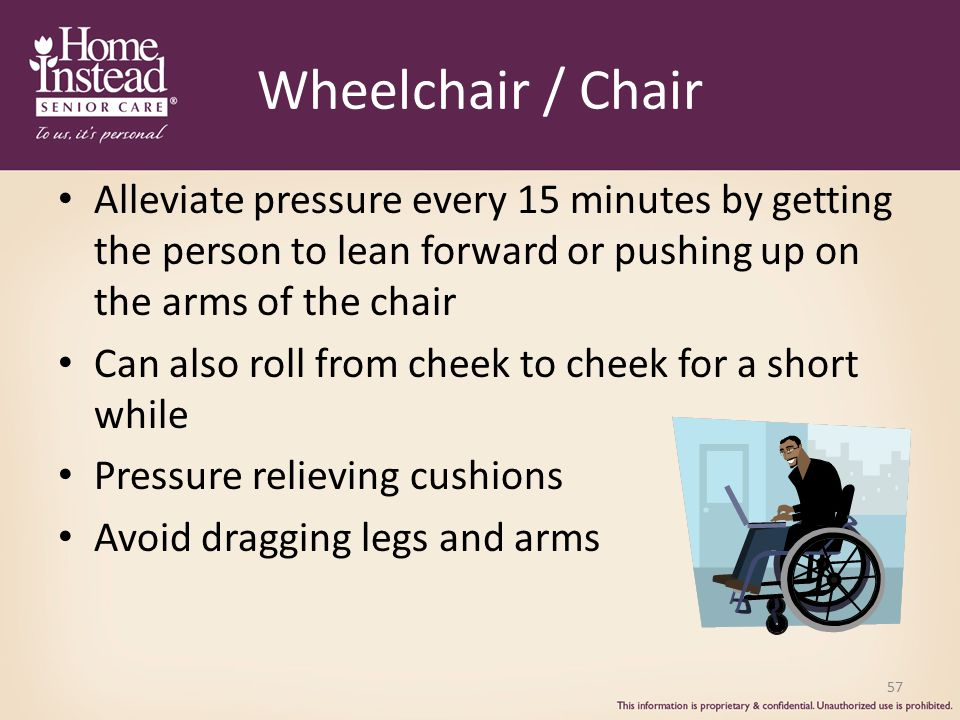 Wheelchair / Chair Alleviate pressure every 15 minutes by getting the person to lean forward or pushing up on the arms of the chair.