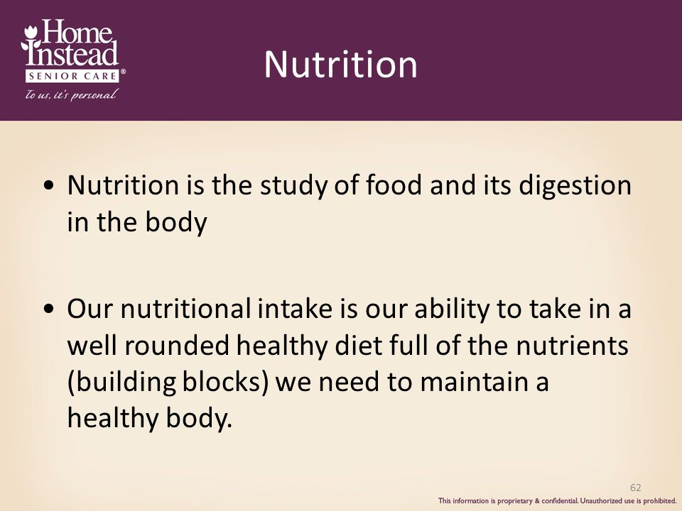 Nutrition Nutrition is the study of food and its digestion in the body