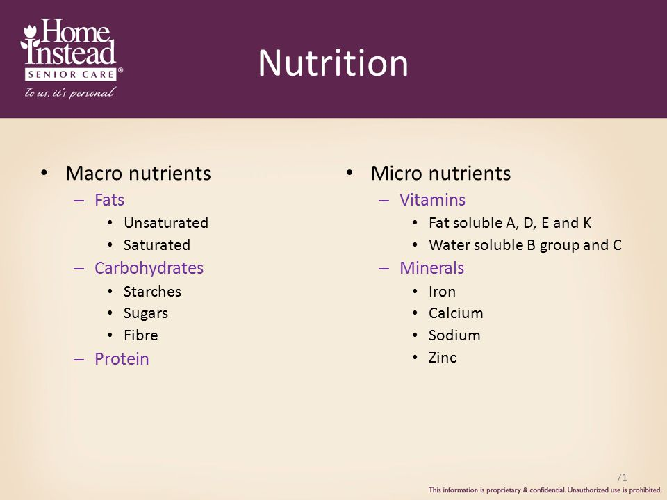 Nutrition Macro nutrients Micro nutrients Fats Carbohydrates Protein