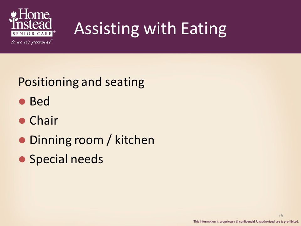 Assisting with Eating Positioning and seating Bed Chair