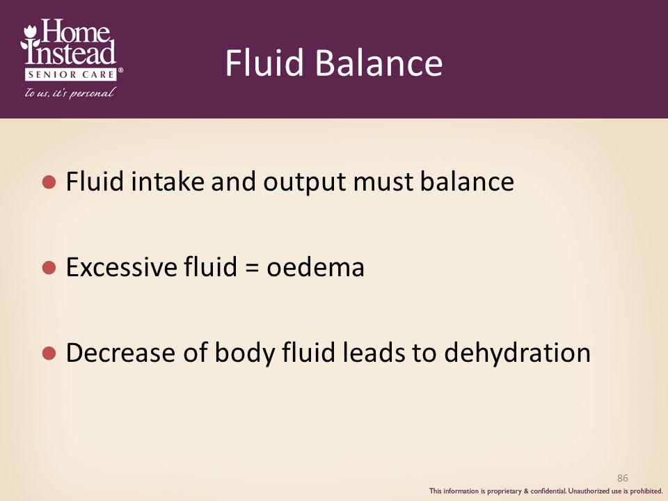 Fluid Balance Fluid intake and output must balance