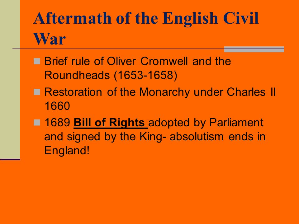 Aftermath of the English Civil War