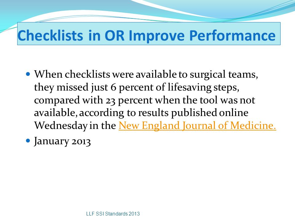 Checklists in OR Improve Performance