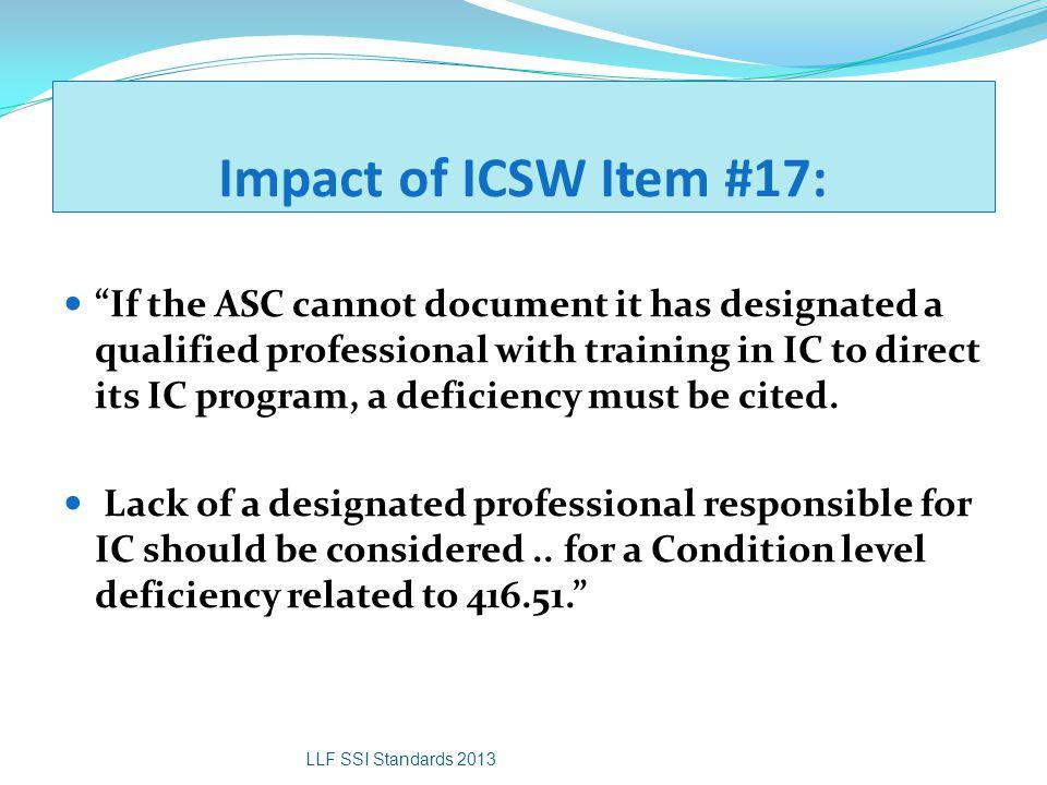 Impact of ICSW Item #17: