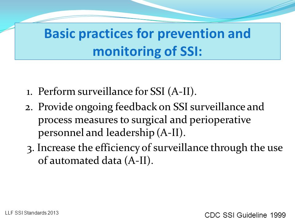 Basic practices for prevention and monitoring of SSI: