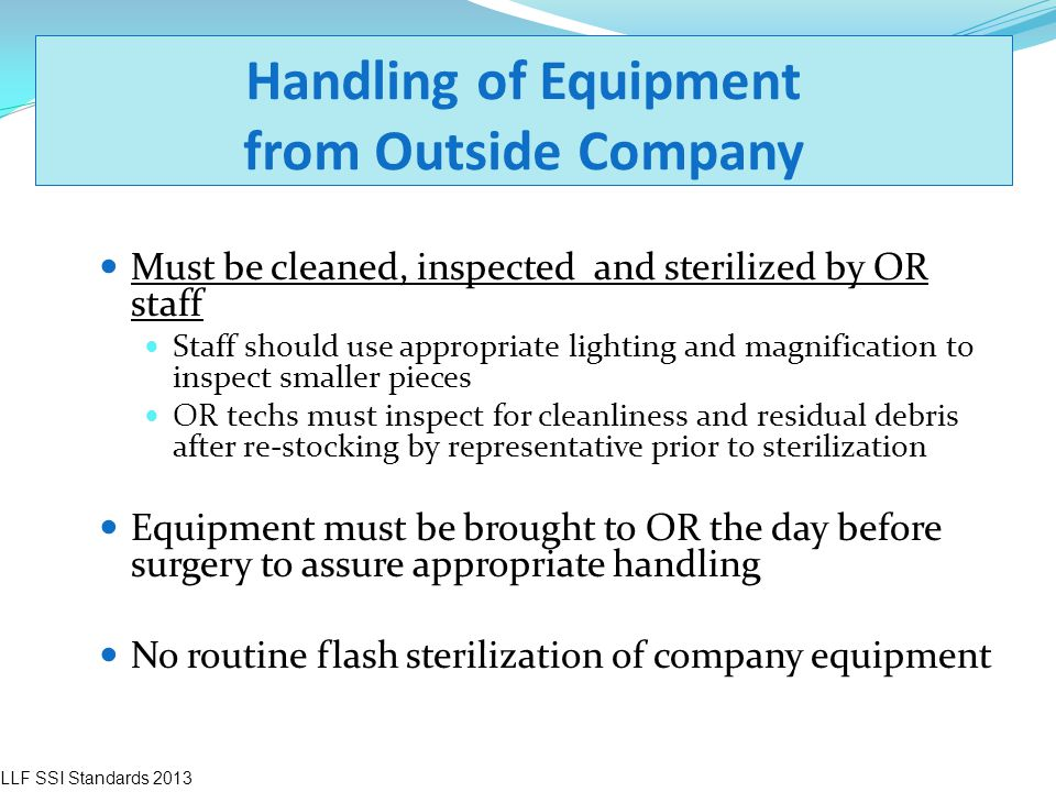 Handling of Equipment from Outside Company