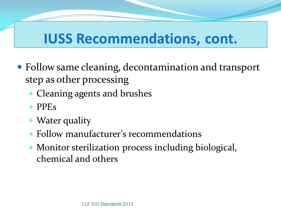 IUSS Recommendations, cont.