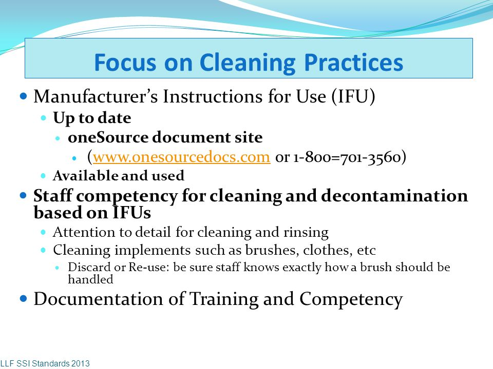 Focus on Cleaning Practices