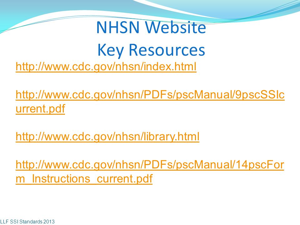 NHSN Website Key Resources