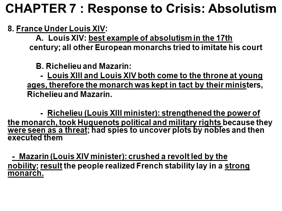 CHAPTER 7 : Response to Crisis: Absolutism
