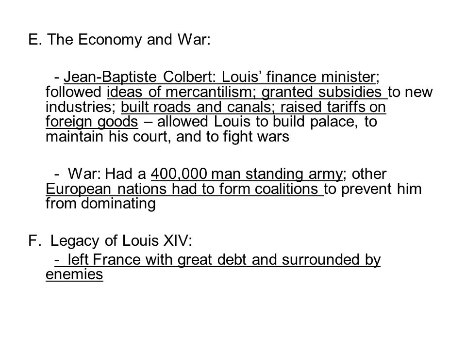 E. The Economy and War: