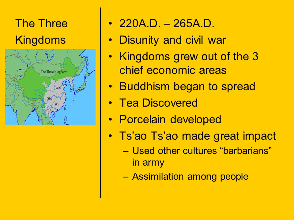 Kingdoms grew out of the 3 chief economic areas