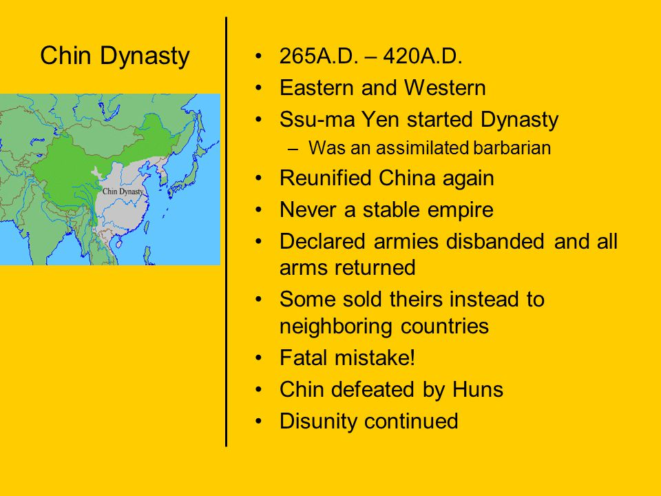 Chin Dynasty 265A.D. – 420A.D. Eastern and Western