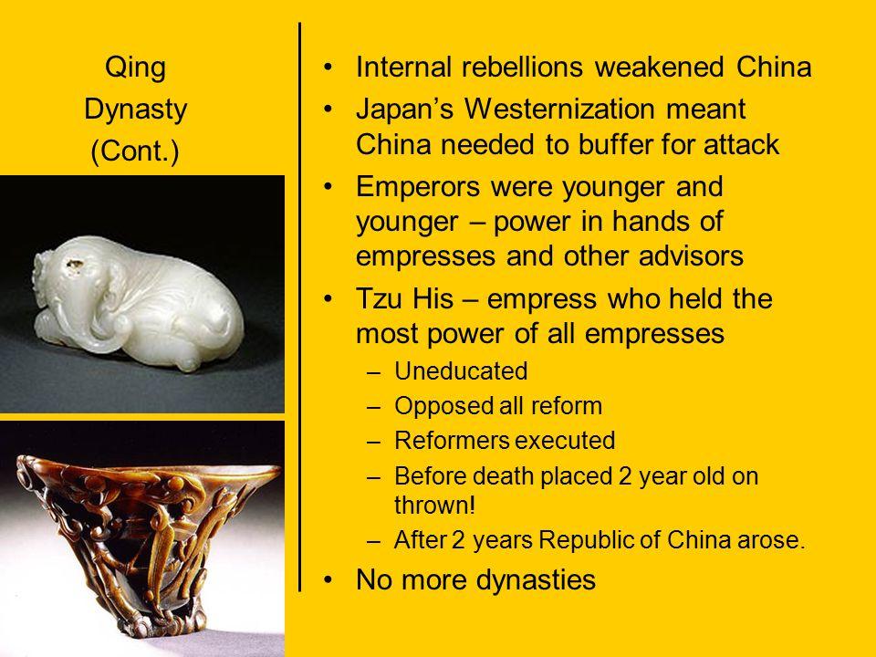 Internal rebellions weakened China
