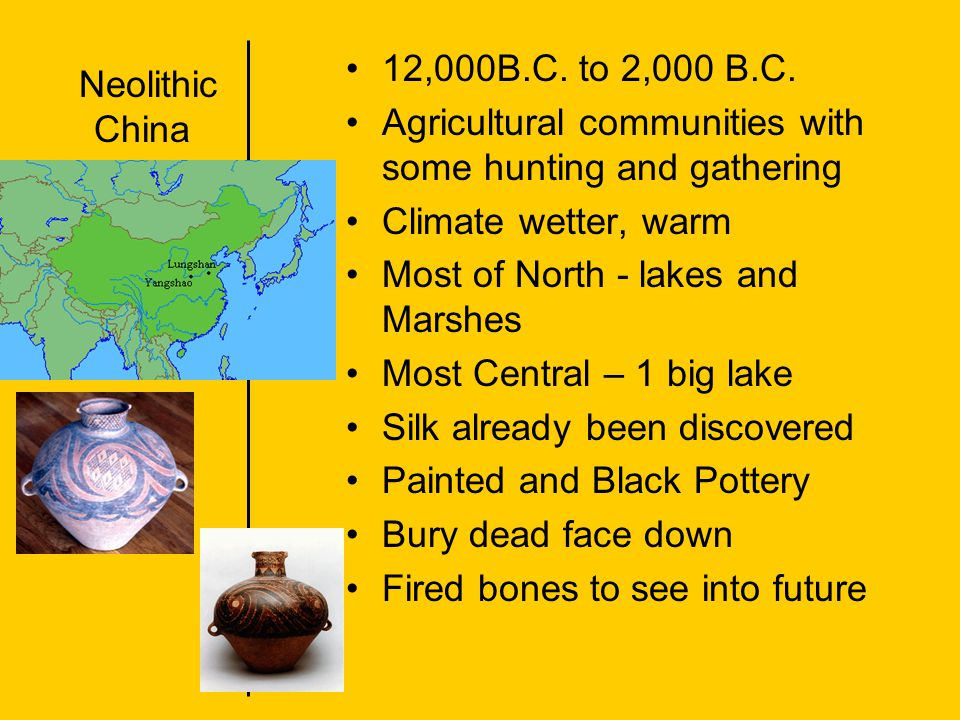 12,000B.C. to 2,000 B.C. Agricultural communities with some hunting and gathering. Climate wetter, warm.
