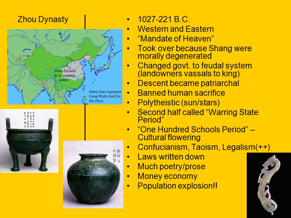 Zhou Dynasty 1027-221 B.C. Western and Eastern. Mandate of Heaven Took over because Shang were morally degenerated.