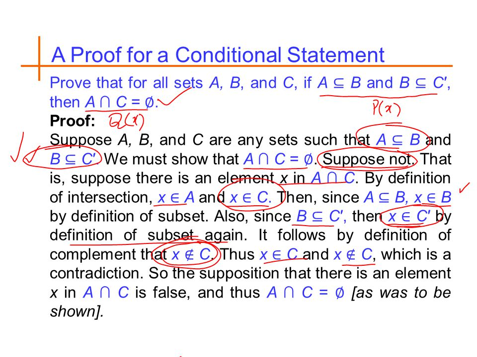 A Proof for a Conditional Statement