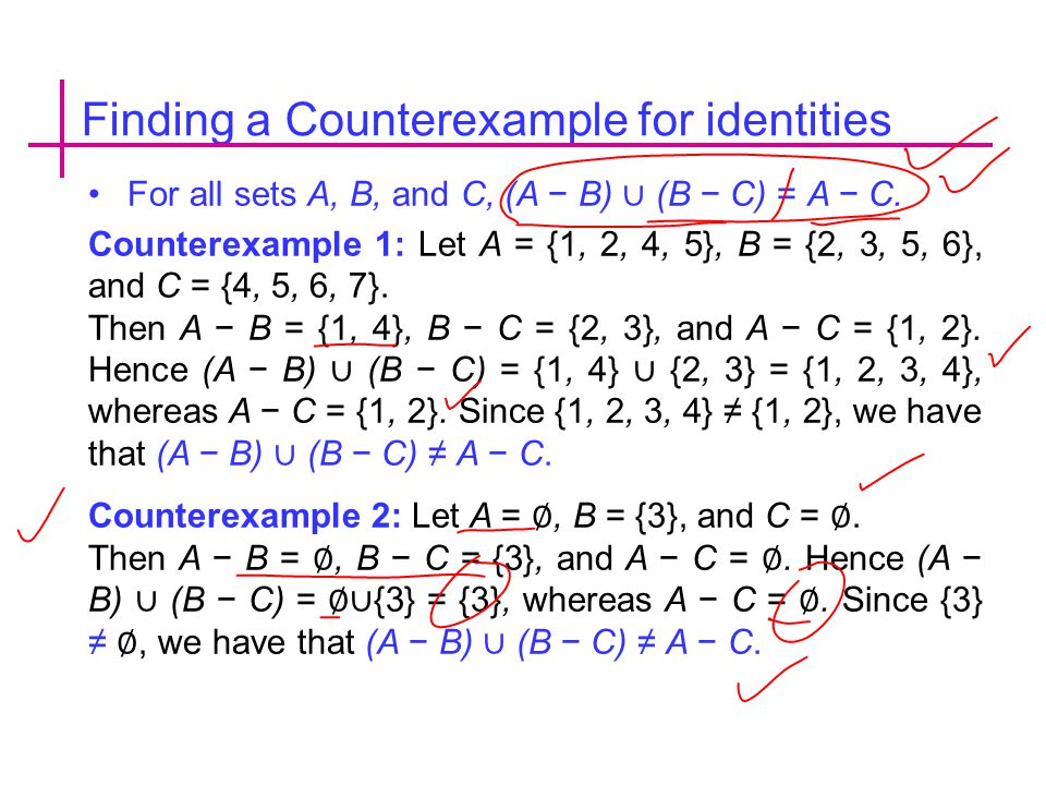 Finding a Counterexample for identities