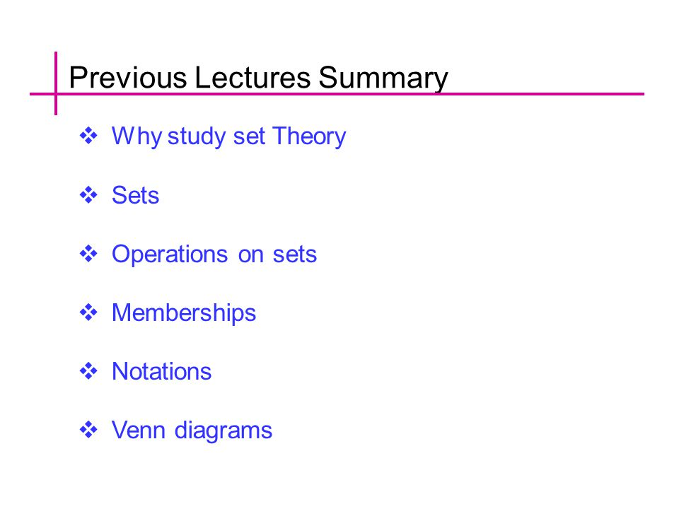 Previous Lectures Summary