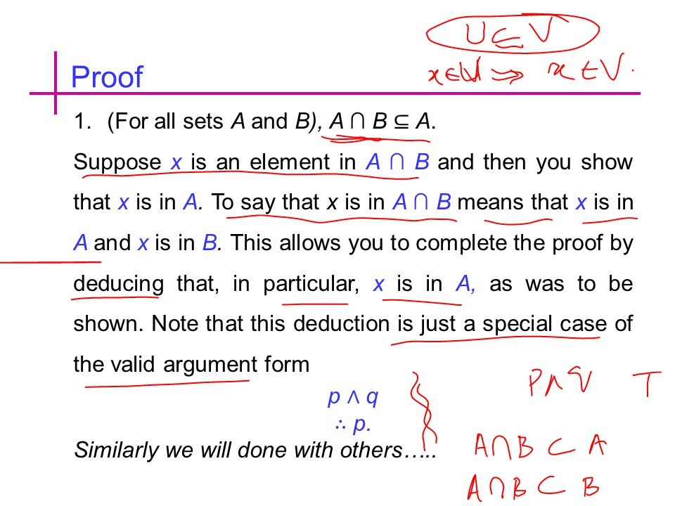 Proof (For all sets A and B), A ∩ B ⊆ A.