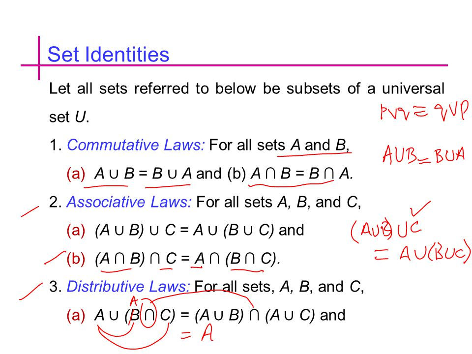 Set Identities Let all sets referred to below be subsets of a universal set U. 1. Commutative Laws: For all sets A and B,