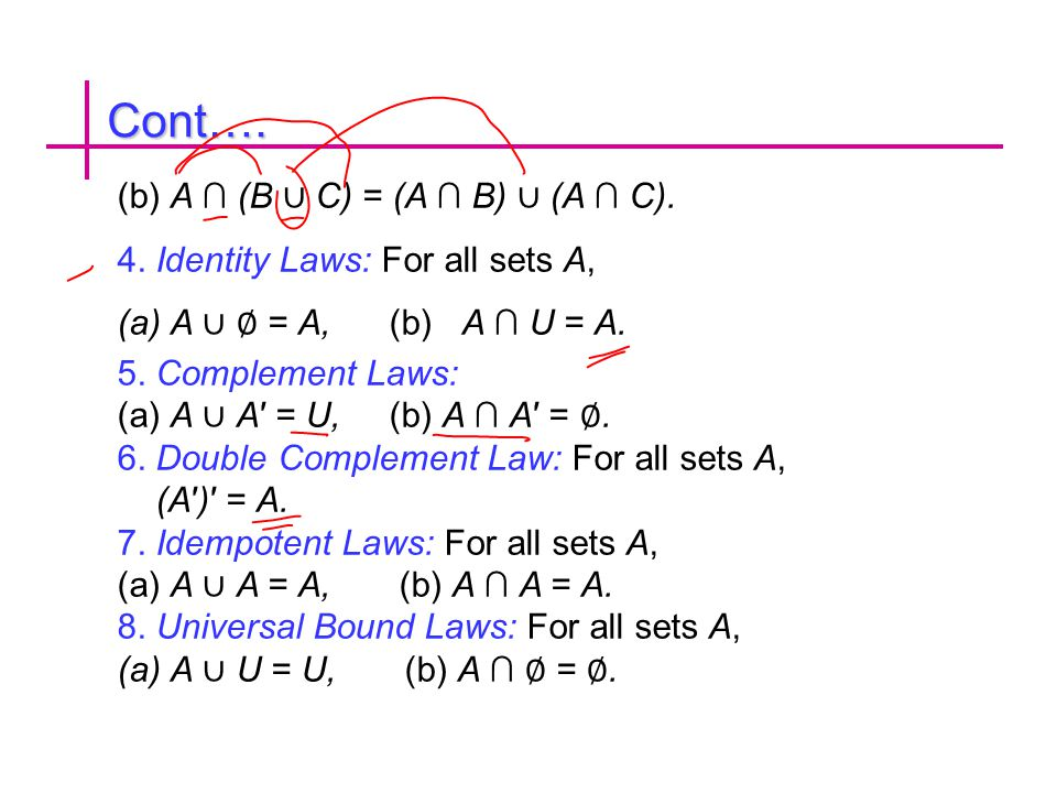 Cont…. (b) A ∩ (B ∪ C) = (A ∩ B) ∪ (A ∩ C).