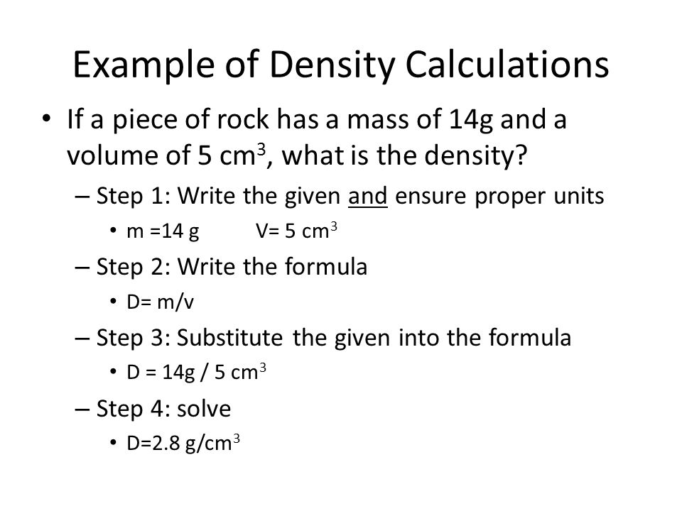 Example of Density Calculations