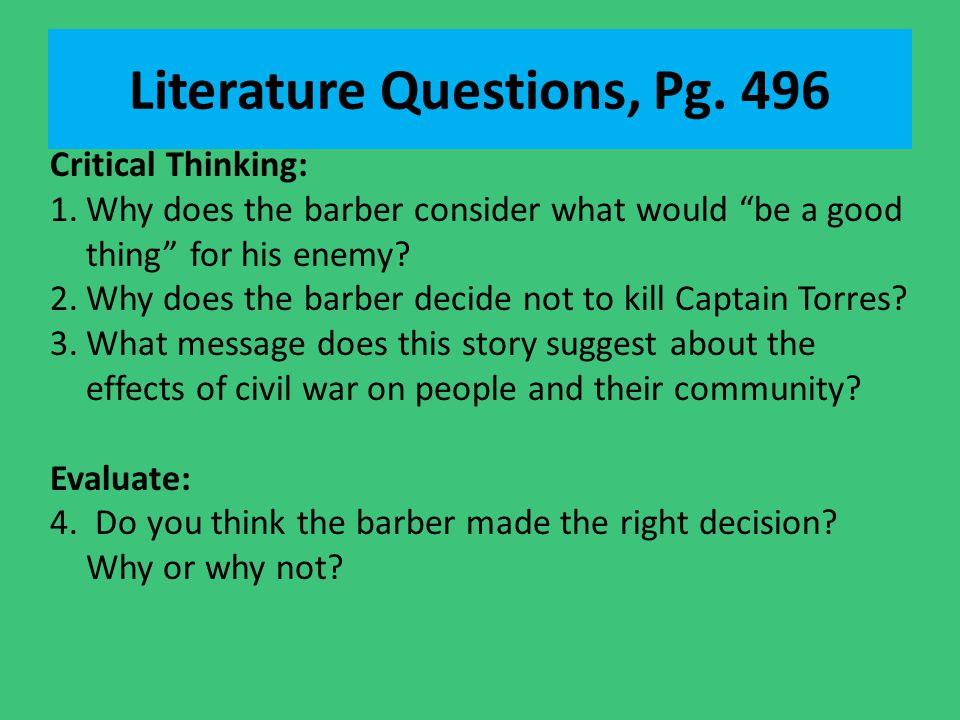 Literature Questions, Pg. 496