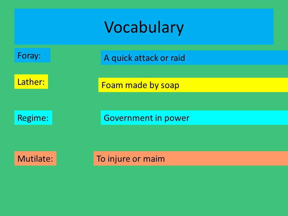 Vocabulary Foray: A quick attack or raid Lather: Foam made by soap