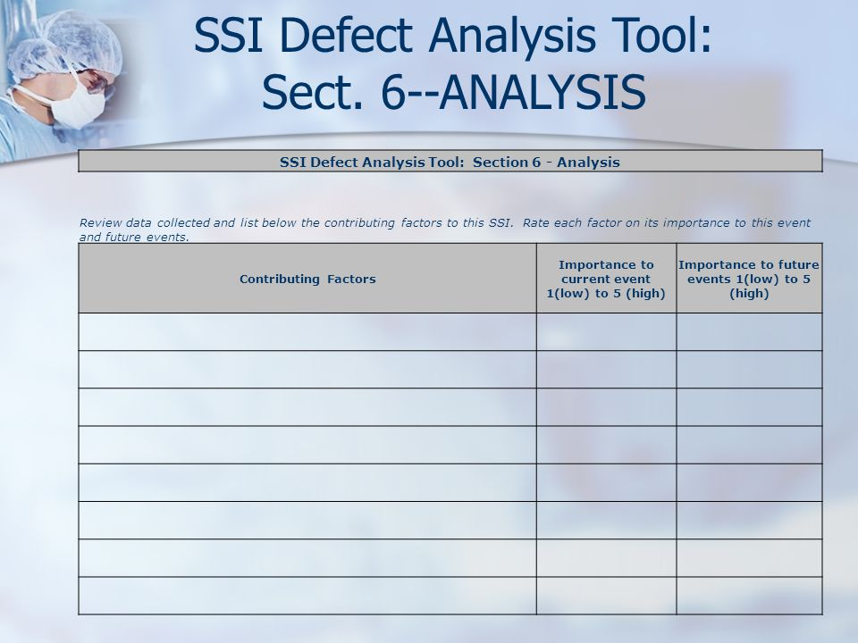 SSI Defect Analysis Tool: Sect. 6--ANALYSIS