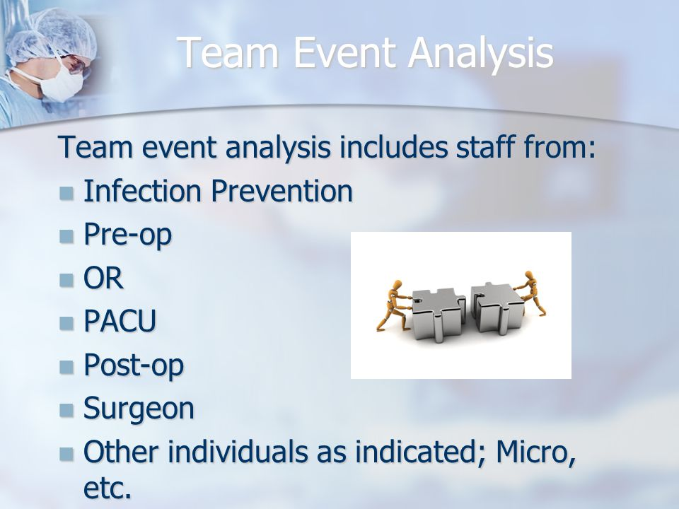 Team Event Analysis Team event analysis includes staff from: