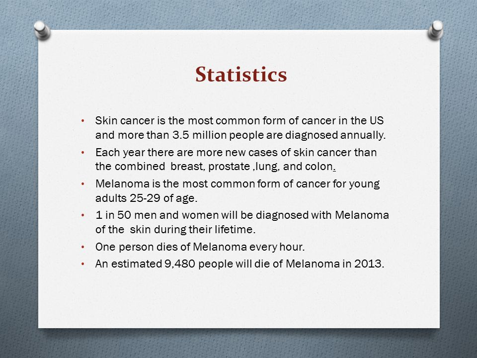 Statistics Skin cancer is the most common form of cancer in the US and more than 3.5 million people are diagnosed annually.
