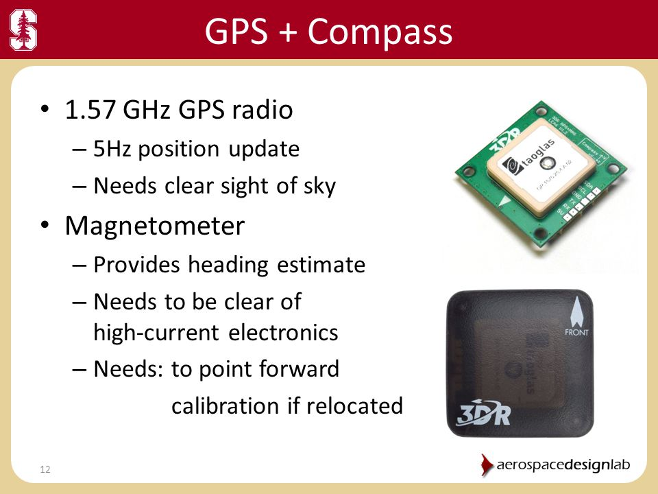 GPS + Compass 1.57 GHz GPS radio Magnetometer 5Hz position update