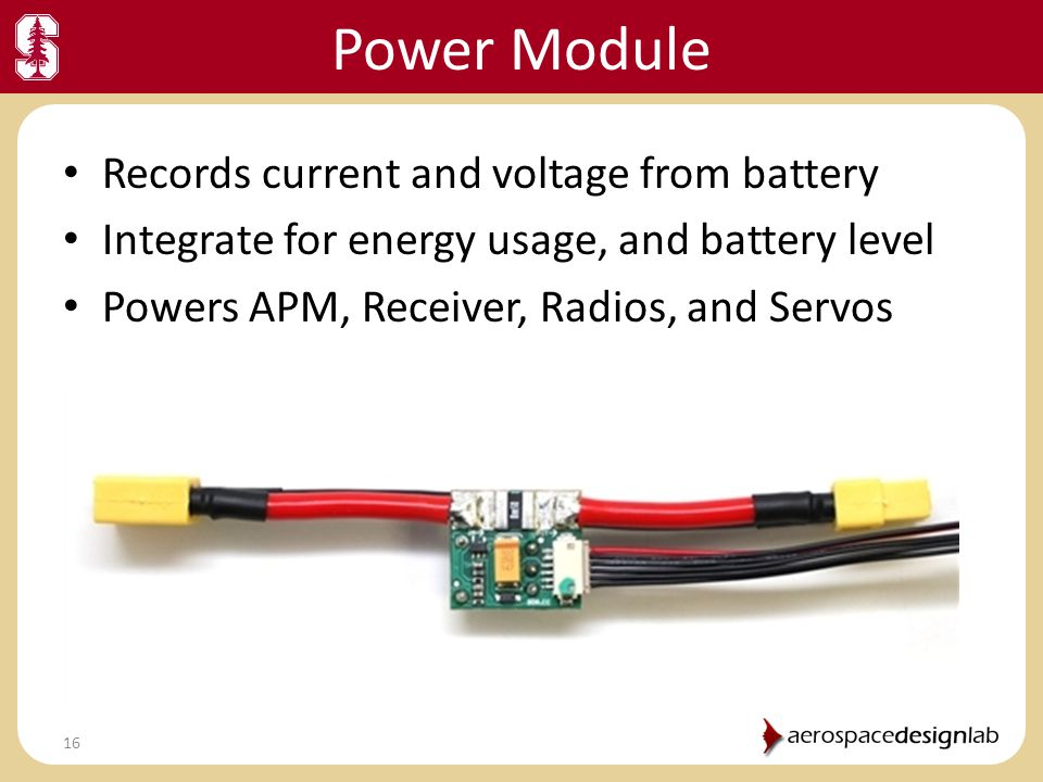 Power Module Records current and voltage from battery
