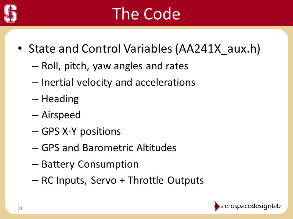 The Code State and Control Variables (AA241X_aux.h)