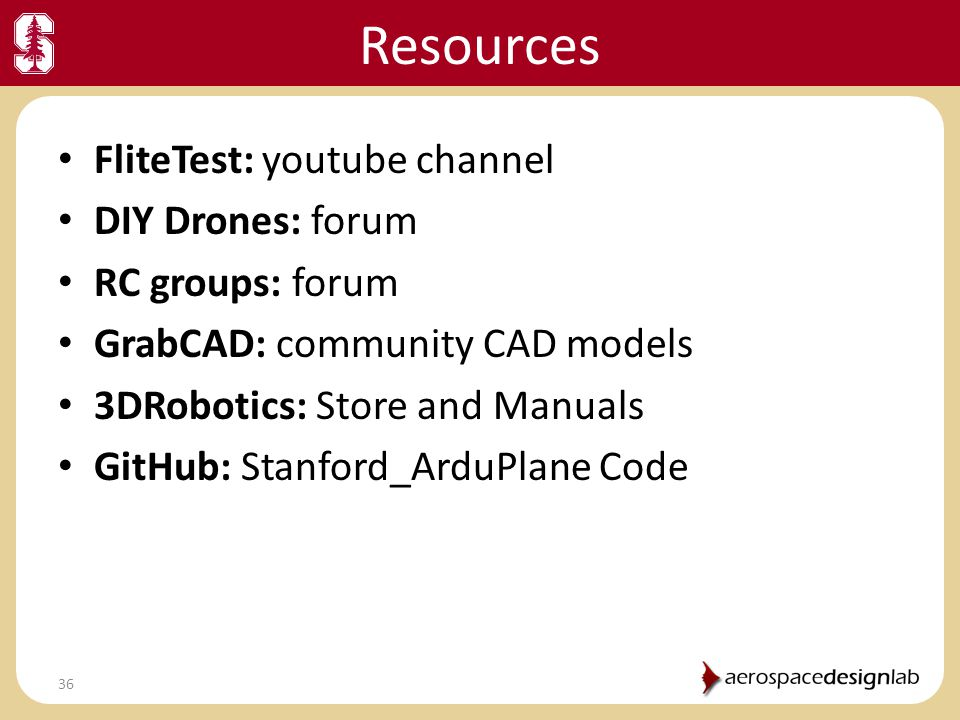 Resources FliteTest: youtube channel DIY Drones: forum