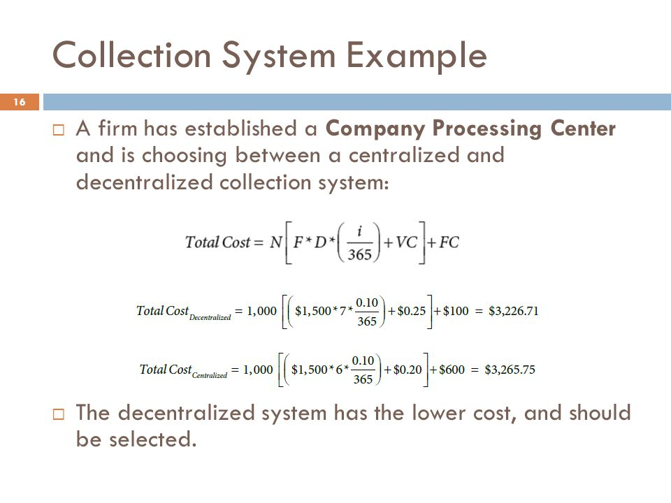 Collection System Example
