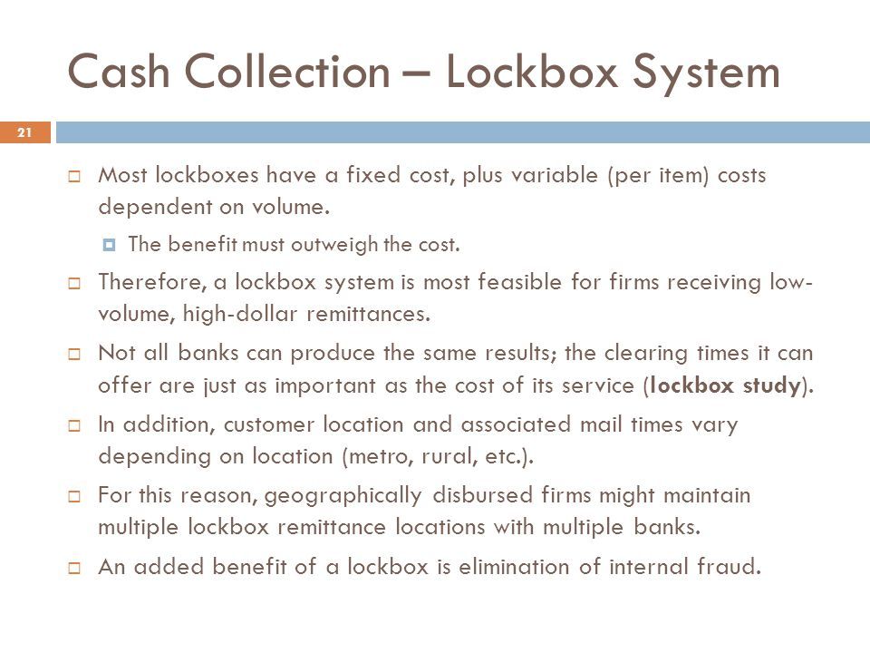 Cash Collection – Lockbox System