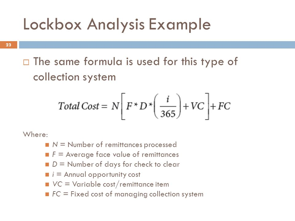 Lockbox Analysis Example