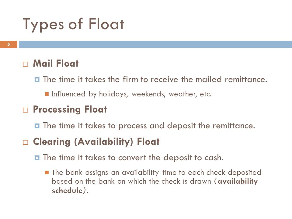 Types of Float Mail Float Processing Float