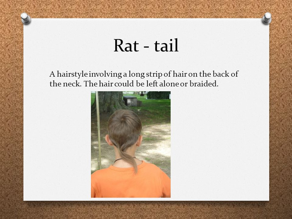 Rat - tail A hairstyle involving a long strip of hair on the back of the neck.