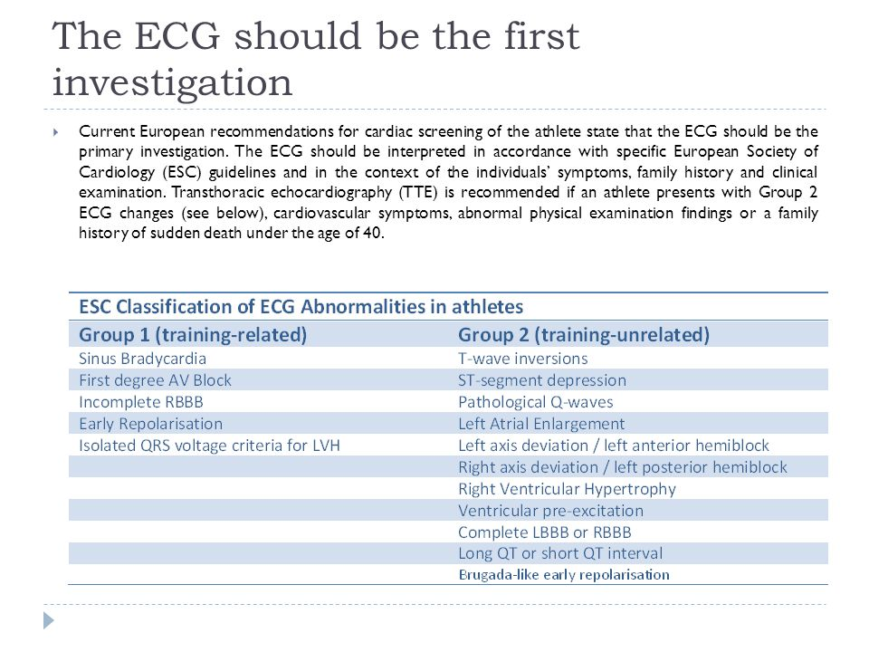 The ECG should be the first investigation